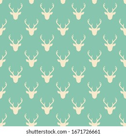 Seamless pattern with deer heads silhouettes. Trendy background. Nature wildlife animal backdrop in light green and white.