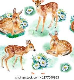 Seamless pattern with deers, fawns, camomile flowers isolated on a white background. Watercolor. Illustration. Template. Hand drawing. Close-up. Clip art.
