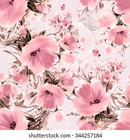 Seamless pattern delicate bouquet of beautiful flowers-1.  Beautiful pattern for decoration and design. Trendy print. Exquisite pattern for design of watercolor sketches of the flowers. Vintage.