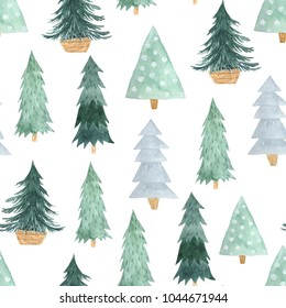 Seamless pattern with delicate green Christmas Tree. Decorative background with hand painted evergreen fores tree. Winter holiday design perfect for wallpaper and scrapbooking