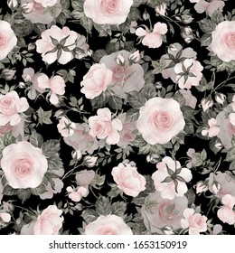 Seamless pattern of delicate roses drawn by paints on paper. Stylish print for textile design and decoration.