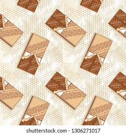 Seamless pattern with delicious chocolate bars.