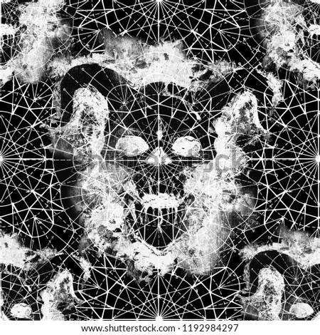 seamless pattern demon skull silhouette compass stock illustration