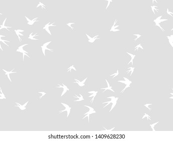 Seamless pattern designed with swallow birds. Good idea for curtain and wallpaper.