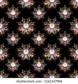 Seamless pattern of diamond flowers on black background. 3d illustration
