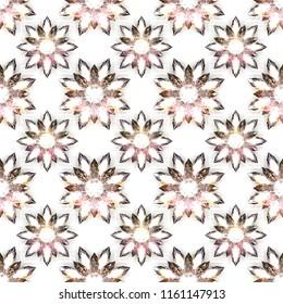 Seamless pattern of diamond flowers on white background. 3d illustration