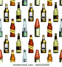 Seamless pattern with different beer bottles. illustration background in ink hand drawn style.