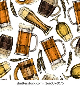 Seamless pattern with different beer glasses and mugs. Color illustration background in ink hand drawn style.