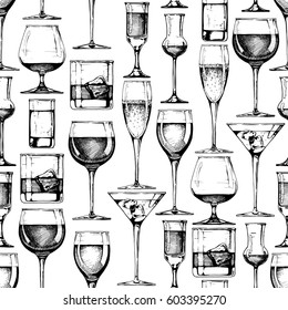 Seamless pattern with different glasses goblets and wineglasses. illustration in old fashioned hand drawn style on white background.