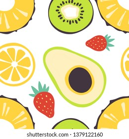 Seamless pattern with different summer fruits