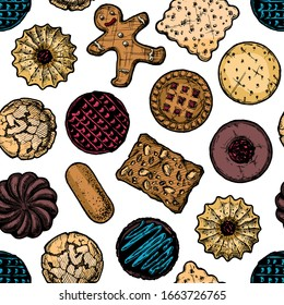 seamless pattern with different tasty cookies. illustration background in old fashioned etched style.