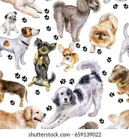 Seamless pattern with dogs. Set of beautiful thoroughbred dogs. Watercolor. Illustration. Canine Footprints.