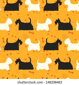 Seamless pattern with dogs silhouettes. Scottie and westie. Scottish terrier and west highland white terrier.