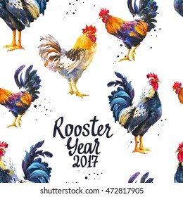 Seamless pattern with domestic bird in different poses. Sketch style. Realistic watercolor illustration of multicolor rooster on white background. 2017 Chinese New Year of the Cock.