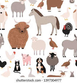 Seamless pattern with domestic farm barnyard animals and birds on white background. Backdrop with livestock and fowl. Cartoon hand drawn illustration for wrapping paper, textile print.
