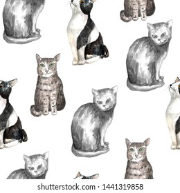 Seamless pattern with domestic shorthair black and white cats. Watercolor technique