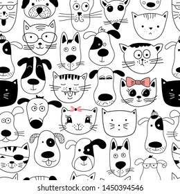 Seamless pattern with doodle cats and dogs. Can be used for textile, website background, book cover, packaging.