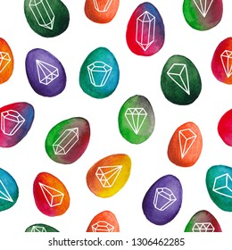 Seamless pattern with doodle diamonds on the eggs background. Watercolor illustration.