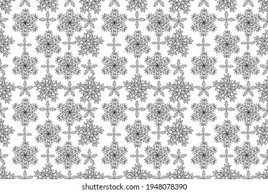 seamless pattern with doodles petals flowers on white background. Pano. Raster.