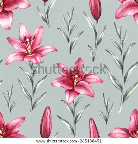 Seamless Pattern Drawings Lily Flowers Stock Illustration 265138451