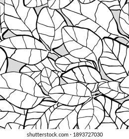 seamless pattern of drawn graphic black and white leaves. suitable for postcards, backgrounds, fabrics, clothing, wrapping paper, wallpaper and any design