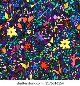 Seamless pattern with drops and waterolor doodle flowers