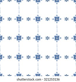 Seamless pattern with Dutch ornaments (Delft blue style). Holland motives