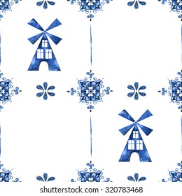 Seamless pattern with Dutch ornaments with mills (Delft blue style). Holland (Amsterdam) motives