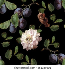 Seamless pattern in Dutch style. Scenic plum in digital art and leaves, peony. Dutch still life
