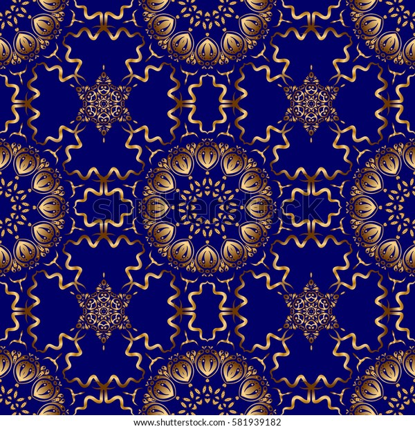 Seamless pattern in Eastern style with floral golden elements. Sketch for cards, thank you message, printing. Vintage seamless border and grid for design template on a blue background.