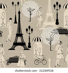 Seamless pattern - Effel Tower, street lights, old fashioned girls  - Background for fashion or retail design in vintage style. Raster version