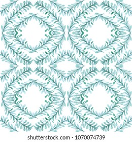 Seamless pattern with elodea seaweed placed in square shapes