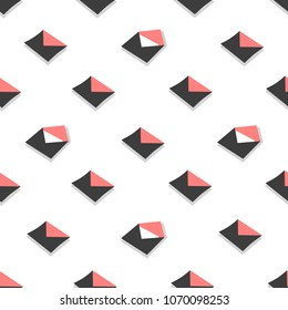 Seamless pattern emails, letters, directed upwards. Background for web sites, services delivery, subscription. Flat design and bright colors.  illustration. open envelope