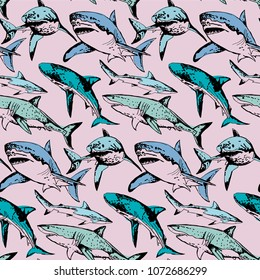 Seamless pattern of endangered sharks in a fun color scheme