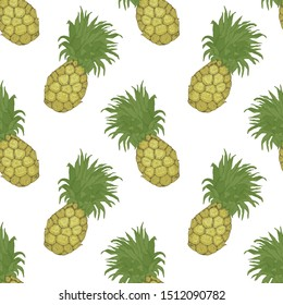 Seamless pattern, endless template with hand drawn pineapple illustration