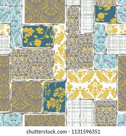 seamless pattern with ethnic borders flowers.  Floral Illustration in  textile. Ethnic patchwork pattern