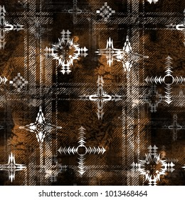 Seamless pattern ethnic design. Creative background with tribal elements, tartan stripes and watercolor effect. Textile print for bed linen, jacket, package design, fabric and fashion concepts.