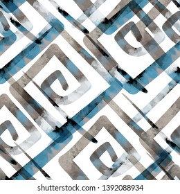 Seamless pattern ethnic design. Creative background with greek meanders and watercolor effect. Textile print for bed linen, jacket, package design, fabric and fashion concepts.