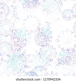 Seamless Pattern Ethnic Design. Floral Background With Mandalas And  Watercolor Effect. Textile Print For