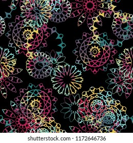 Seamless pattern ethnic design. Floral background with mandalas and watercolor effect. Textile print for bed linen, jacket, package design, fabric and fashion concepts.