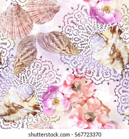 Seamless pattern ethnic design. Marine background with flowers, seashells, mandalas and watercolor effect. Textile print for bed linen, jacket, package design, fabric and fashion concepts.