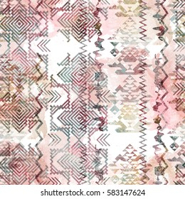 Seamless pattern ethnic design. Navajo background with tribal triangles and watercolor effect. Textile print for bed linen, jacket, package design, fabric and fashion concepts