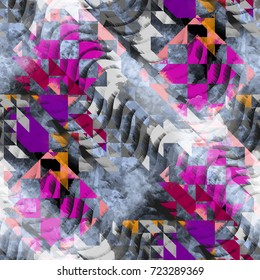 Seamless pattern ethnic design. Navajo background with tribal triangles and watercolor effect. Textile print for bed linen, jacket, package design, fabric and fashion concepts.