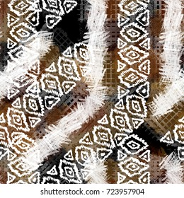 Seamless pattern ethnic design. Tribal background with hand drawn ornaments, stripes and watercolor effect. Textile print for bed linen, jacket, package design, fabric and fashion concepts.