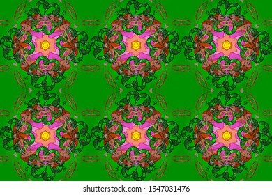 Seamless pattern ethnic mandalas, doodle background circles. Pink, orange and green pattern. Raster Hand drawn zentangle floral pink, orange and green colors.