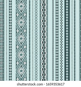 Seamless pattern with ethnic ornamental mint and green stripes