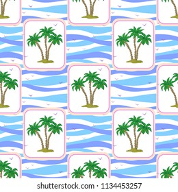 Seamless Pattern, Exotic Landscape, Isolated Green Tropical Palm Trees and Birds Gulls in Rectangles on Tile White and Blue Ocean Wave Background.