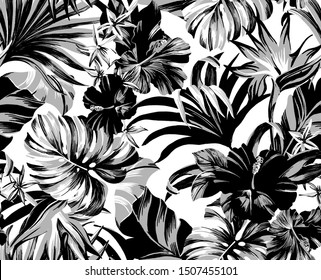 seamless pattern Exotic tropical flowers artwork for fabrics, souvenirs, packaging, greeting cards and scrapbooking