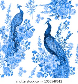 Seamless pattern for fabric in blue tones .Birds, peacocks and flowers .watercolor illustration