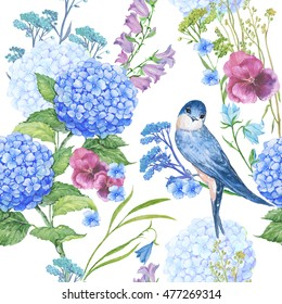 seamless pattern for fabric ,Wallpaper ,illustration watercolors.Bird swallow flowers are blue hydrangea,bells,violets